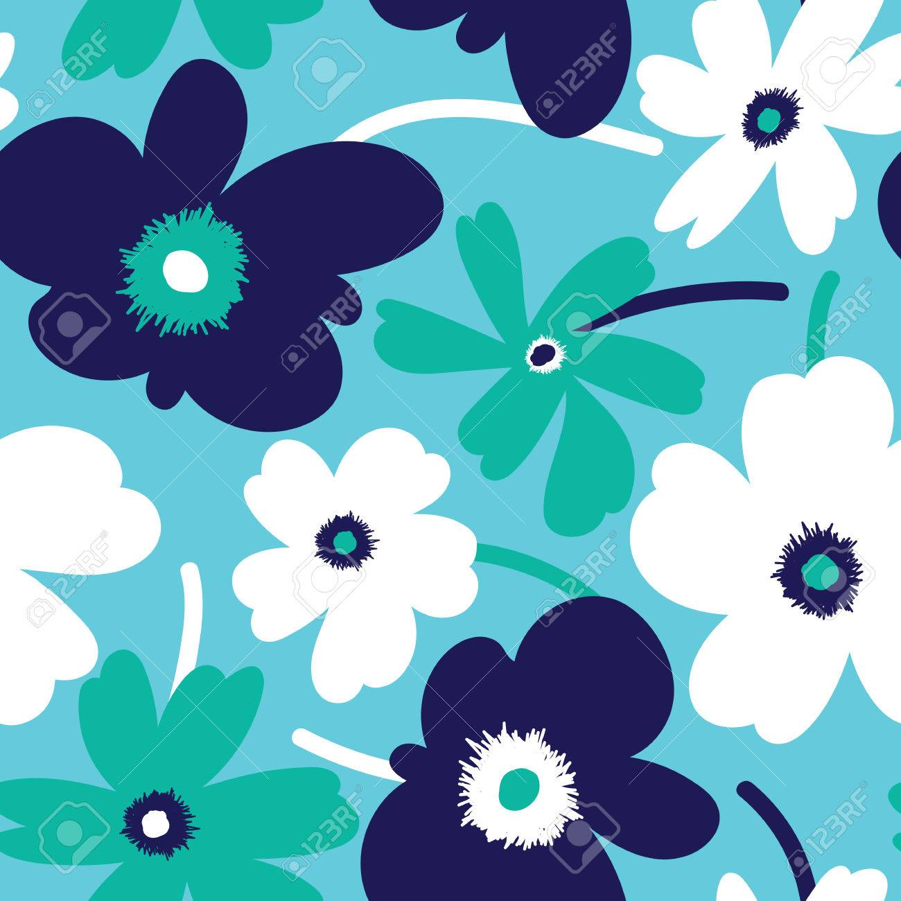 Elagant and simplistic seamless pattern design, repeating background with spring flowers for web and print use - 63414810