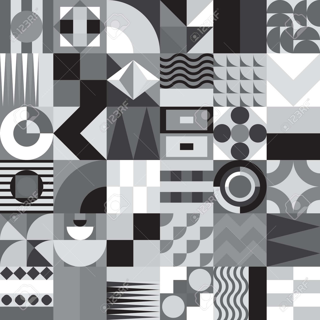 Contemporary geometric mosaic seamless pattern with a vibrant color scheme, repeat background with rich and modern shapes, surface pattern design for web and print - 66990958