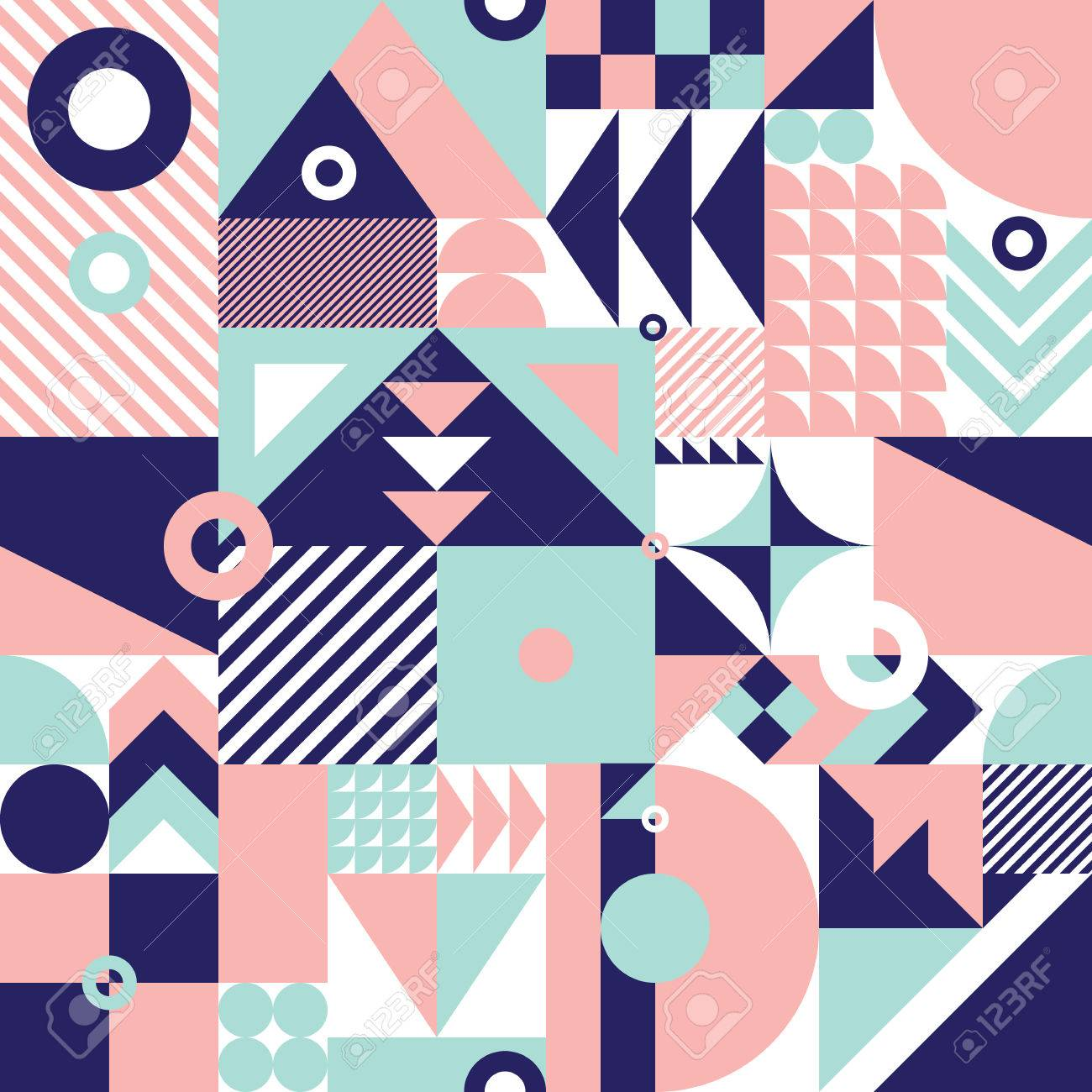 Contemporary geometric mosaic seamless pattern with a vibrant color scheme, repeat background with rich and modern shapes, surface pattern design for web and print - 67248117