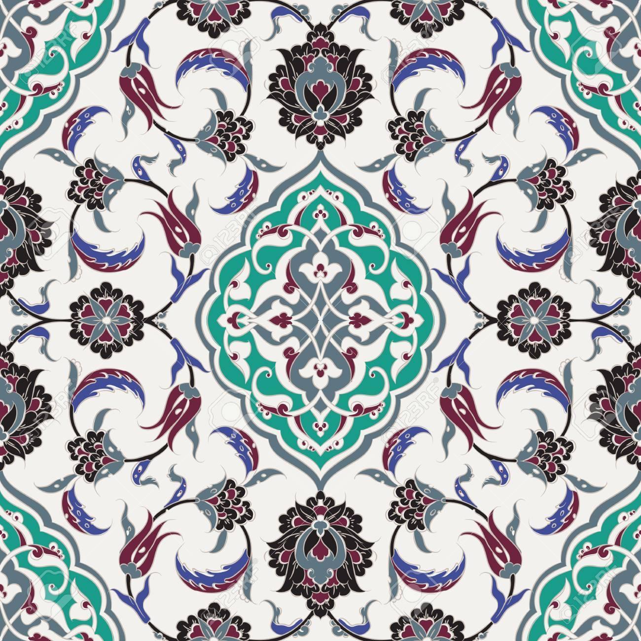 Turkische Iznik Fliesen Und Nahtlose Islamische Muster Mit Hubschen