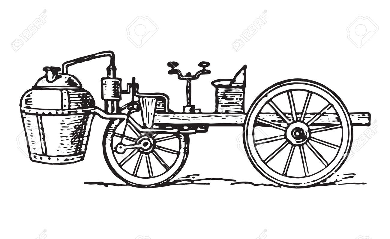 Vector Engraving Of Vintage Cugnot Steam Car Invented In 1769 ...