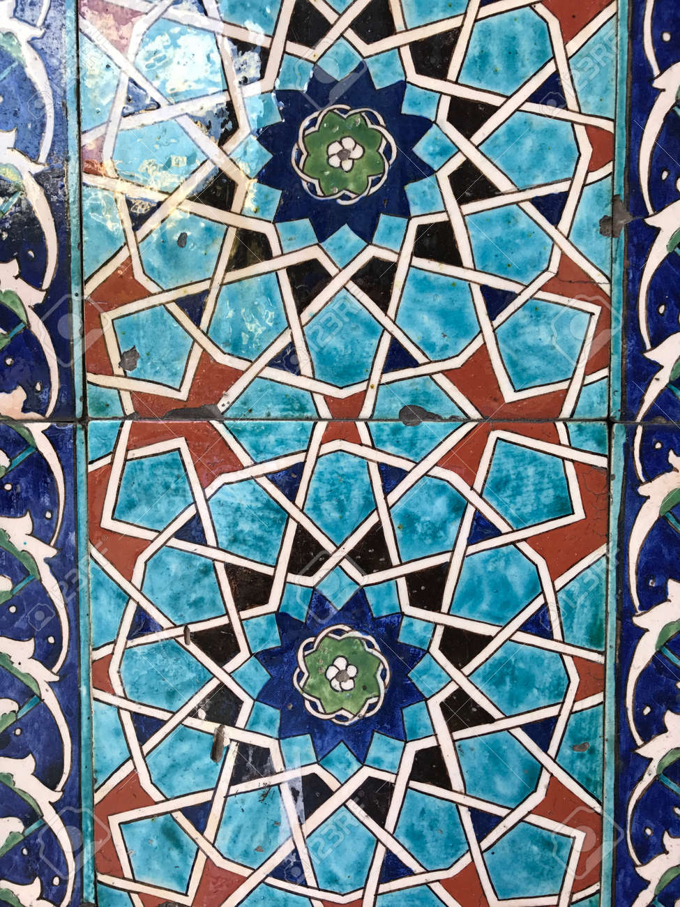 Ancient Iznik Tiles From Istanbul, Turkey. Close Up Ceramic Tile ...