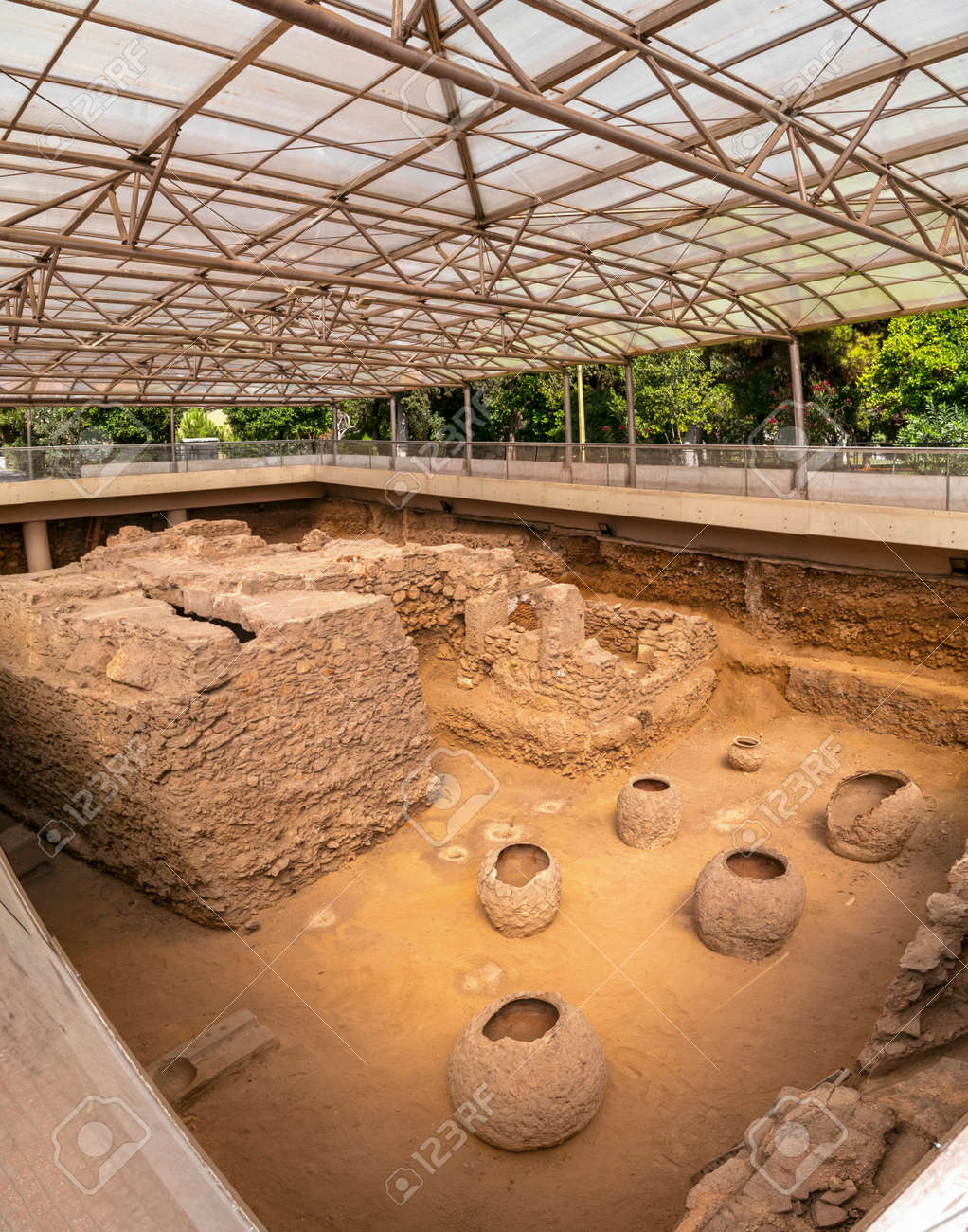 Third Ephorate of Athens Antiquities during the reign of emperor Hadrian.Excavated archaeological site of a roman bath house in Athens near the Ilissos river. - 117735293