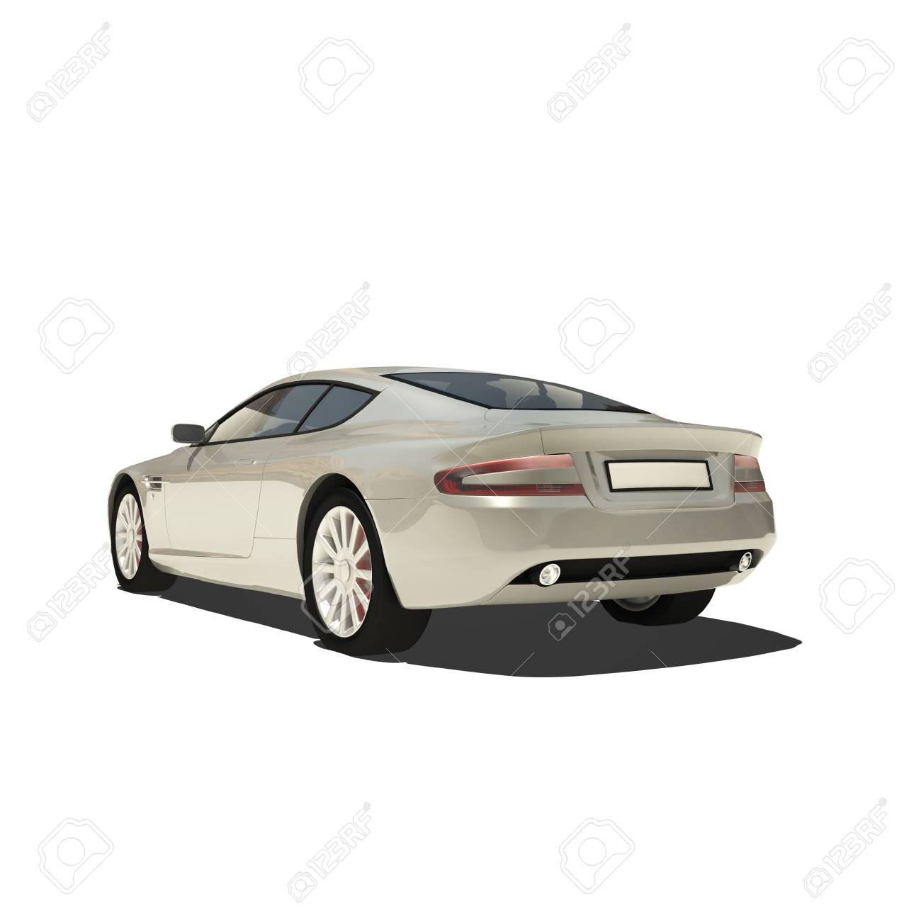 Silver Super Car Isolated on White. Ready to use illustration. Stock Photo - 22686122