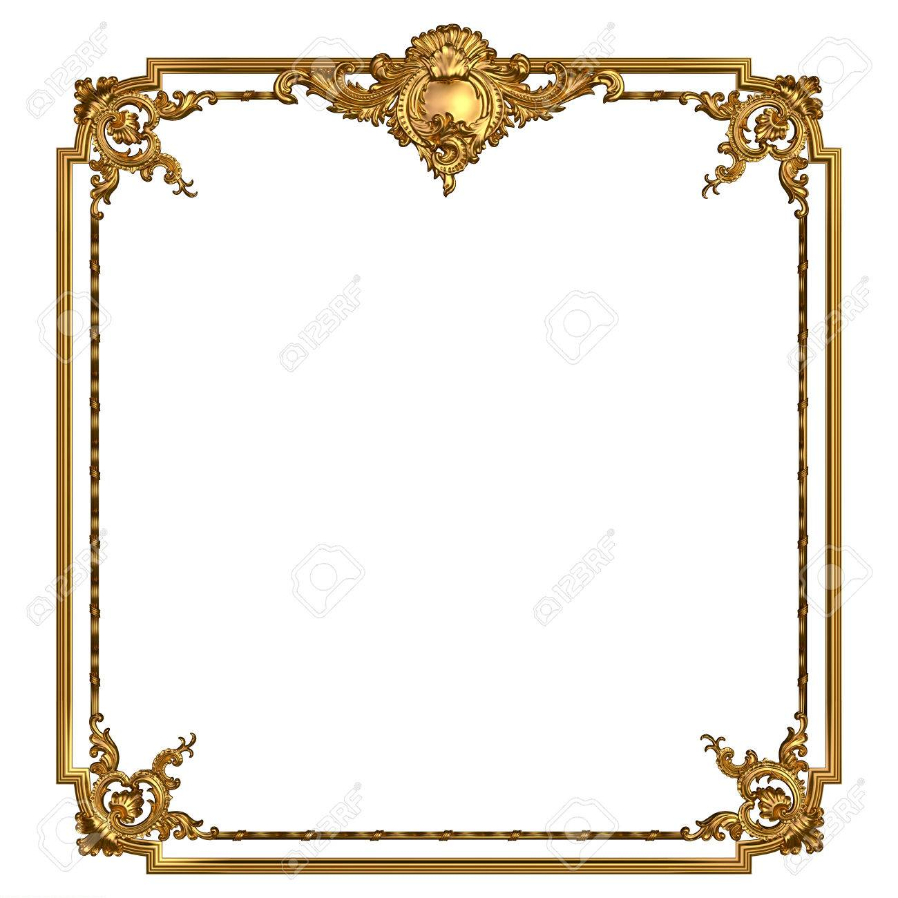 Square Vintage Golden Frame With Blank Space. Isolated On White ...