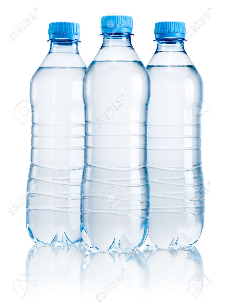 Three Plastic Bottle Of Drinking Water Isolated On White ...