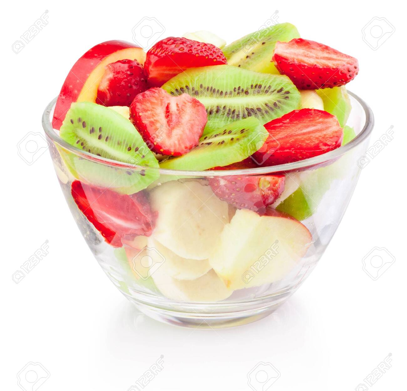 Fresh fruit salad in glass bowl isolated on a white background - 125406958