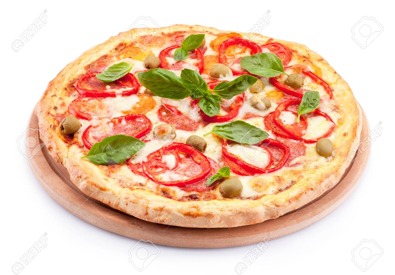 Delicious pizza isolated on a white background - 150177340