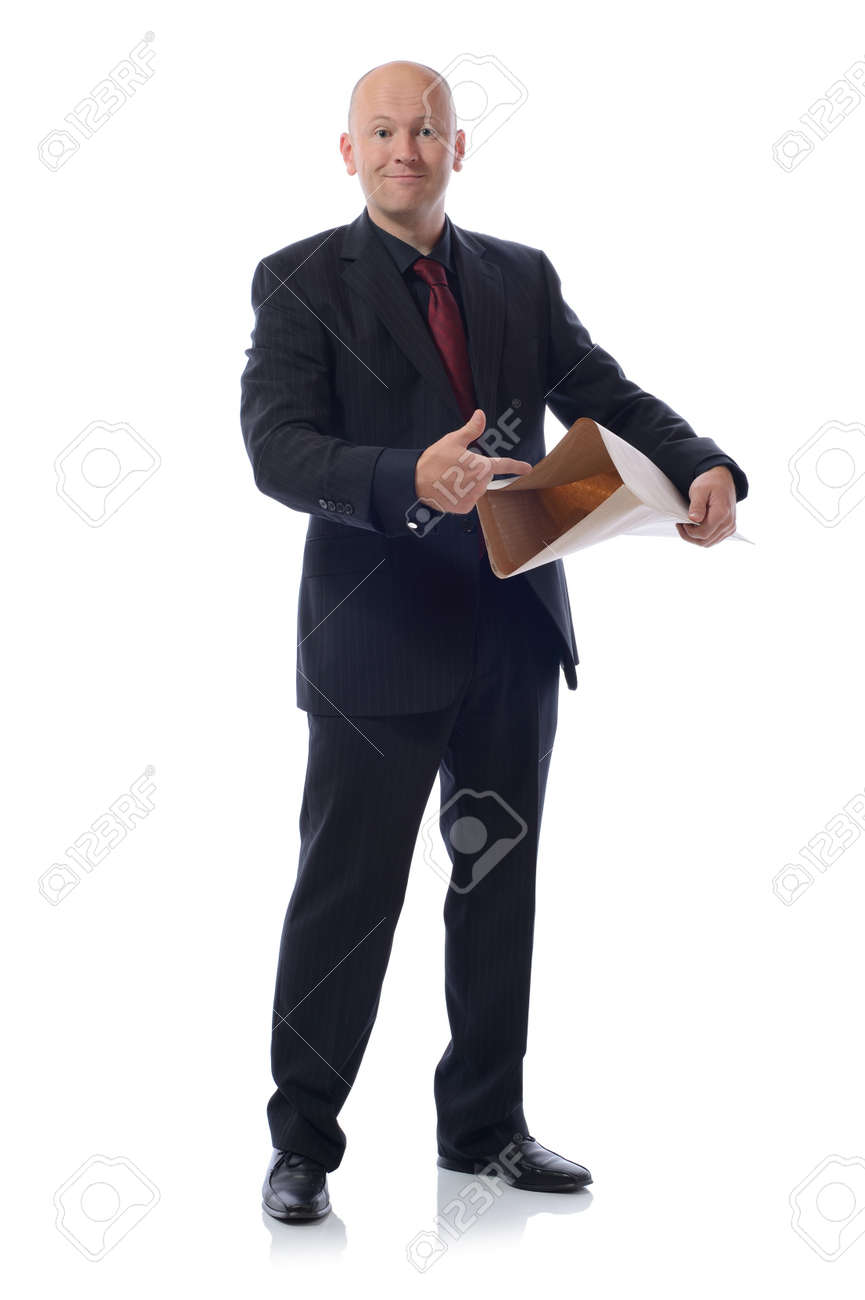 pop it in the post concept, man in suit isolated on white Stock Photo - 16305124