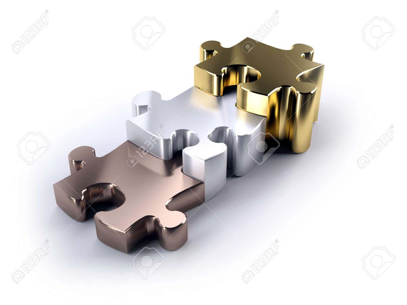 Thre jigsaw peices bronze silver and gold as a poduim concept of winning - 16385243