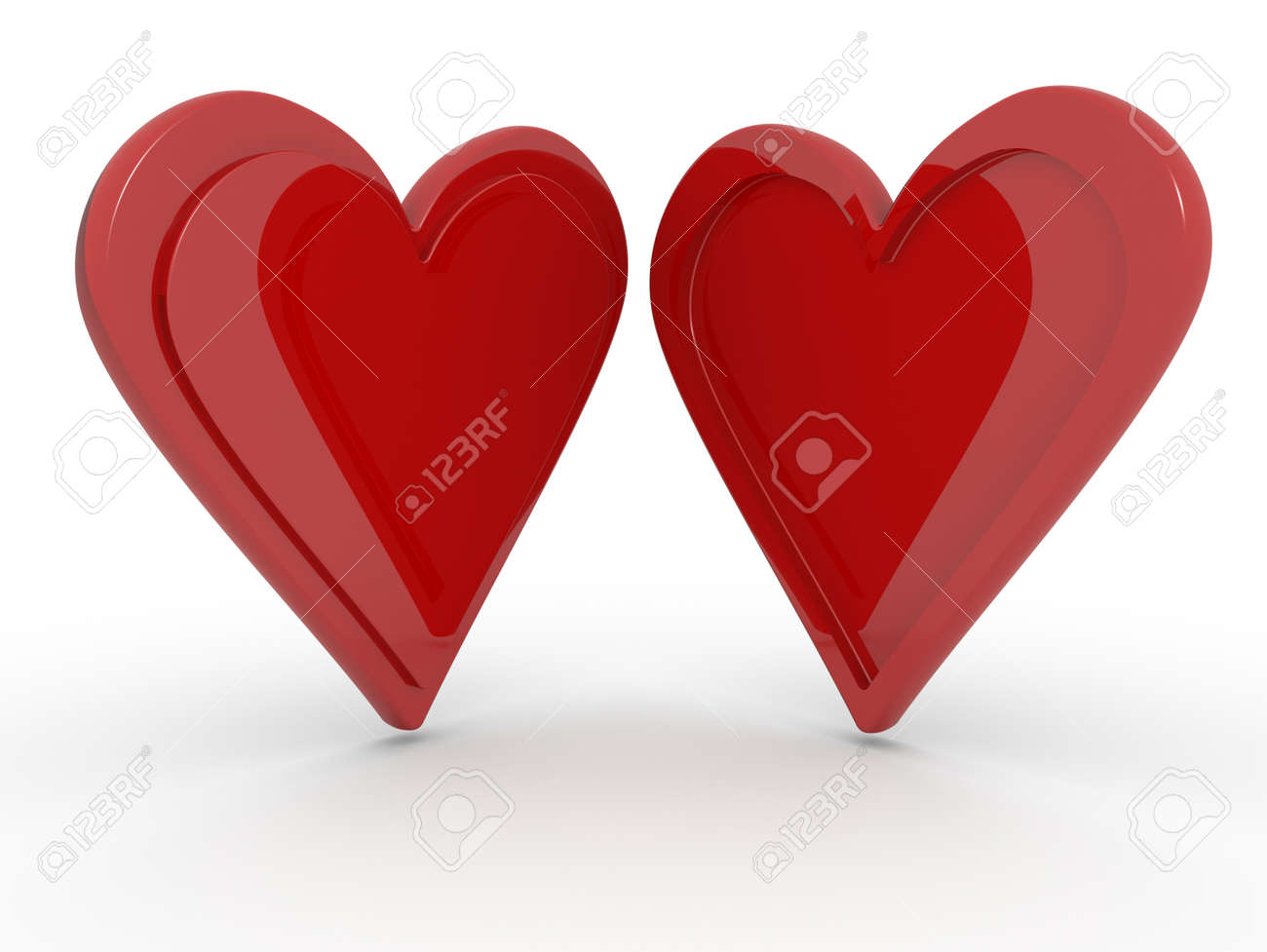 Two hearts together isolated on a white background, opposite profiles concept of opposites attract Stock Photo - 23475567