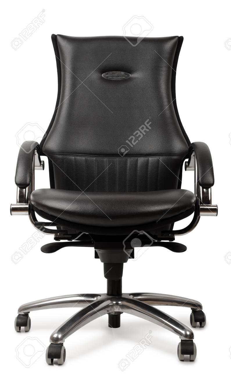 Luxe Leren Bureaustoel.Een Luxe Zwart Lederen Bureaustoel Geisoleerd Op Een Witte