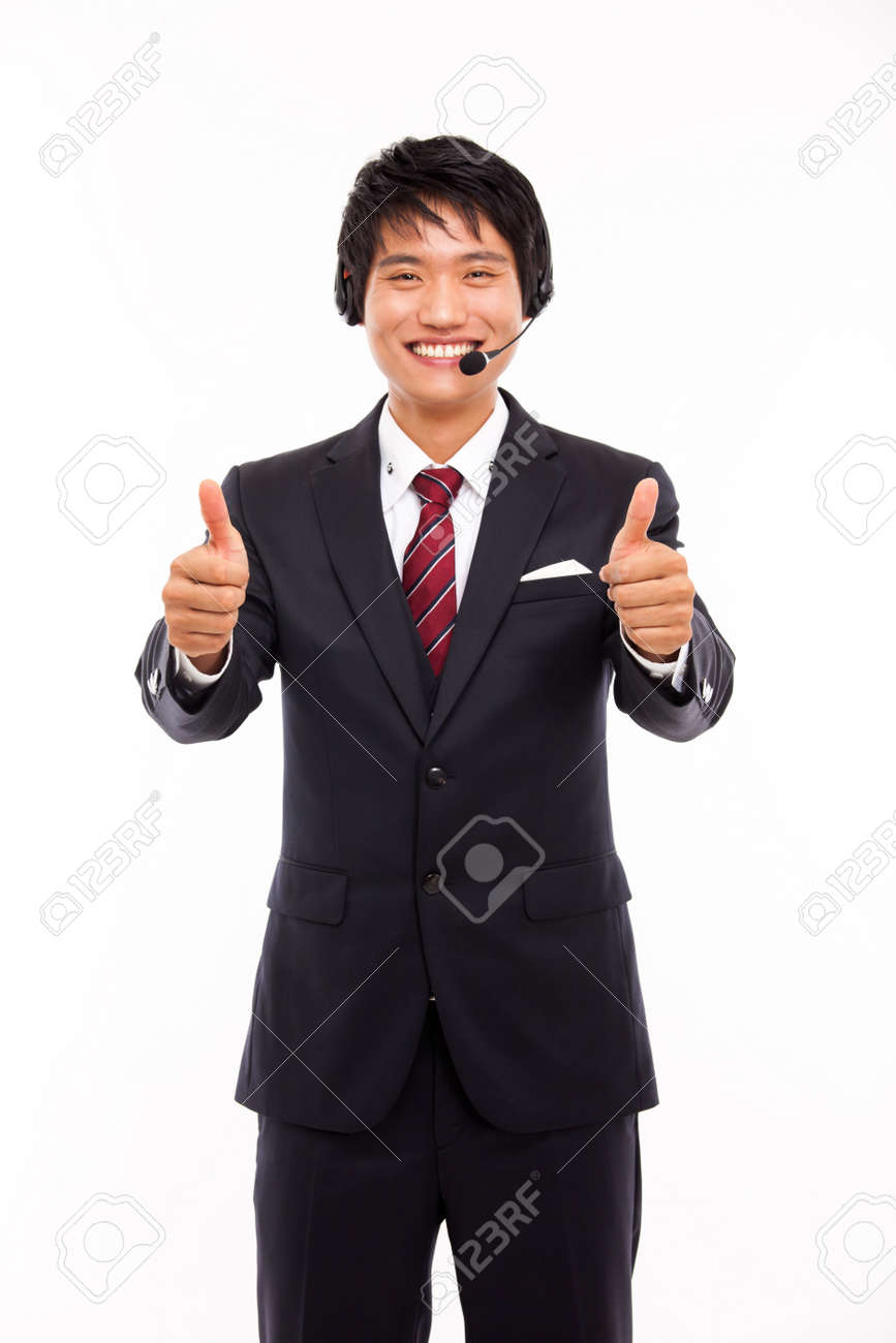 customer support operator man smiling isolated on white Stock Photo - 15040893