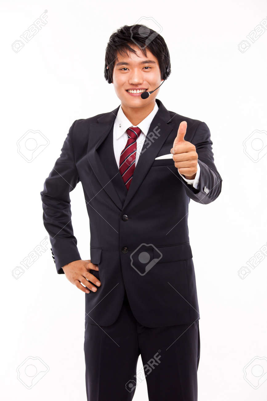customer support operator man smiling isolated on white Stock Photo - 15040898