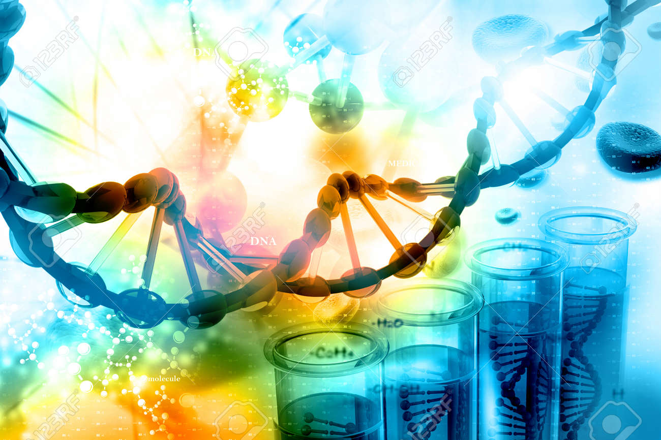 Digital illustration of DNA with scientific background - 42063294