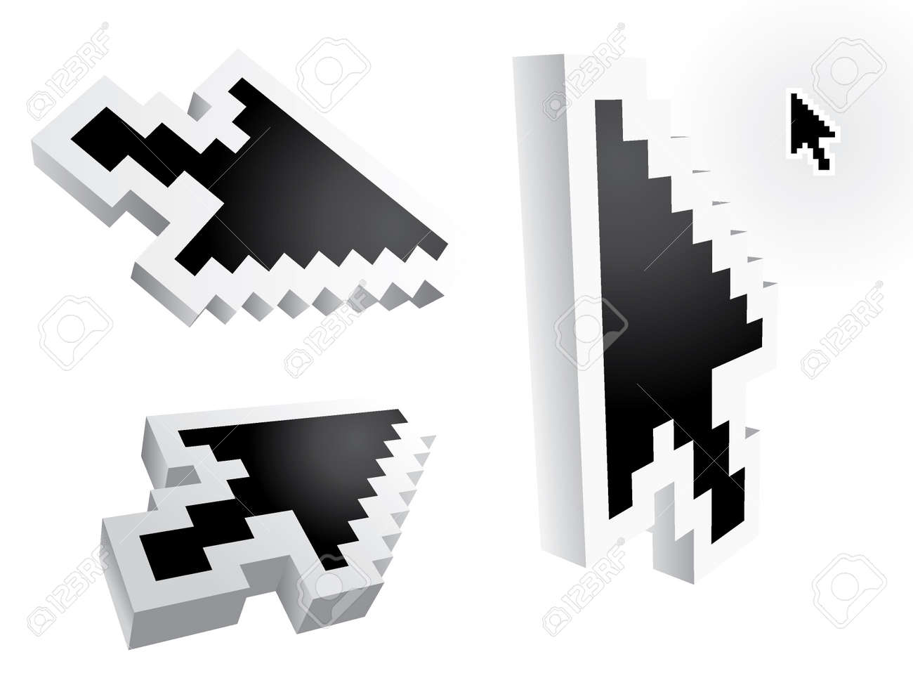 mouse arrow pointers - 3d illustration Stock Vector - 11495766