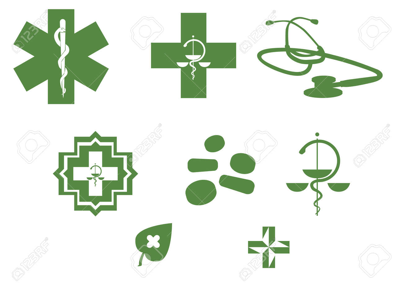 Medical symbols and stuff - green silhouette illustration Stock Vector - 11495882