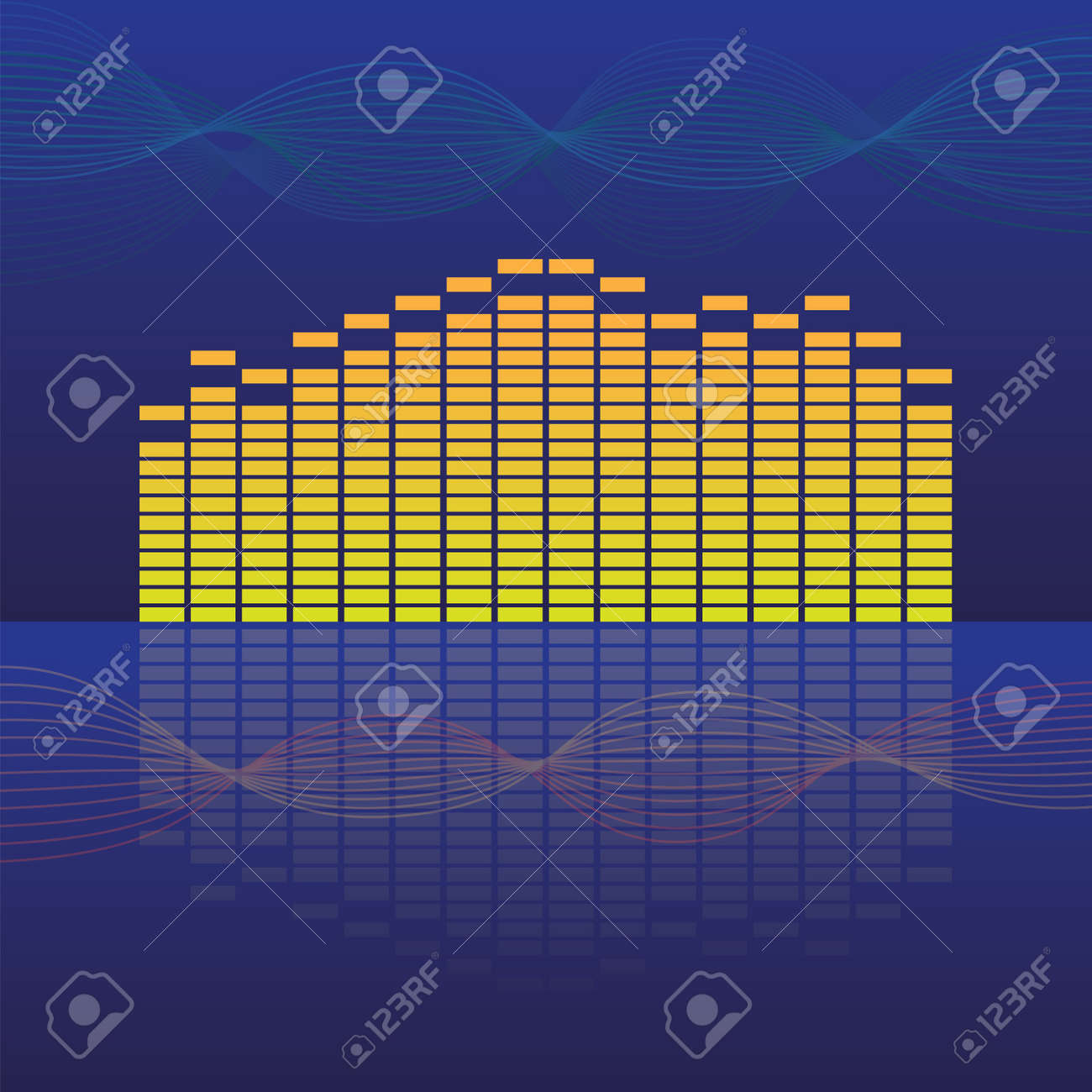 16 band equalizer on abstract background - illustration Stock Vector - 11496952