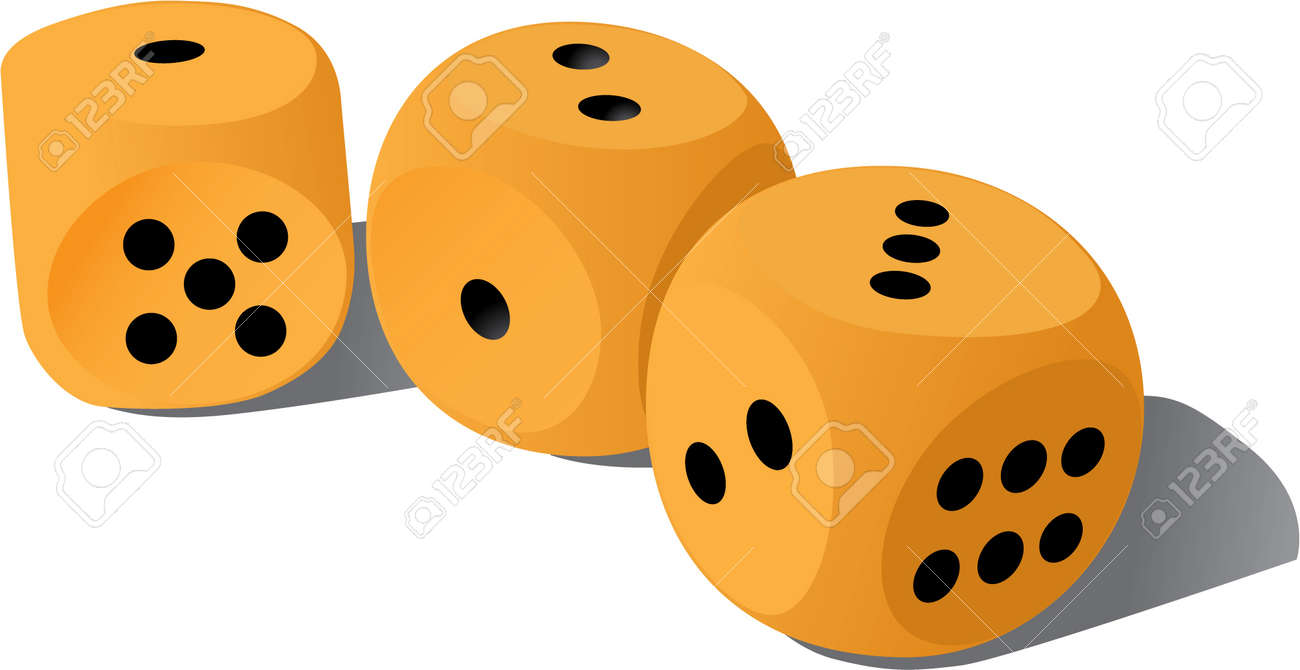 three wood playing dices - illustration Stock Vector - 11496682