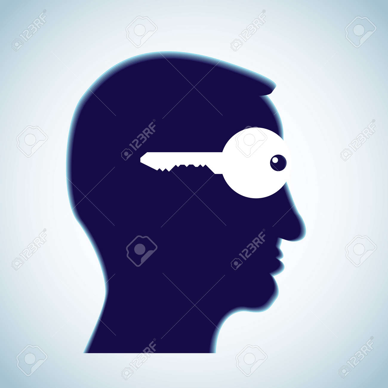 key in head - open mind - illustration Stock Vector - 11904476