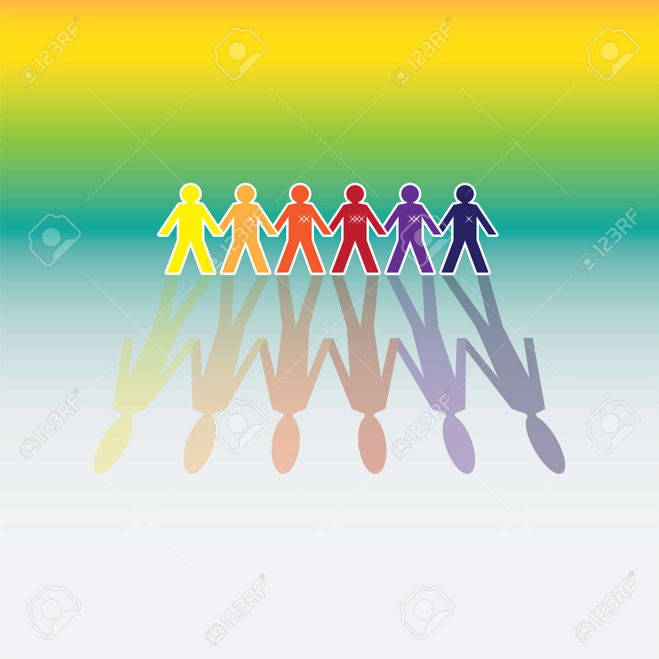 color human figures in a row - illustration Stock Vector - 11904577