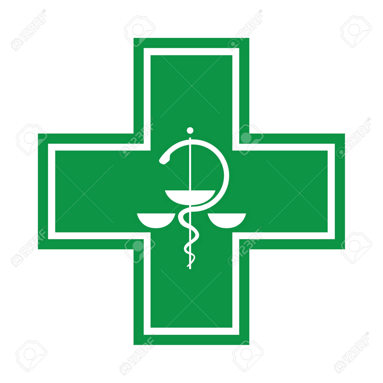 Medical cross - symbol with snake - illustration Stock Vector - 12113614