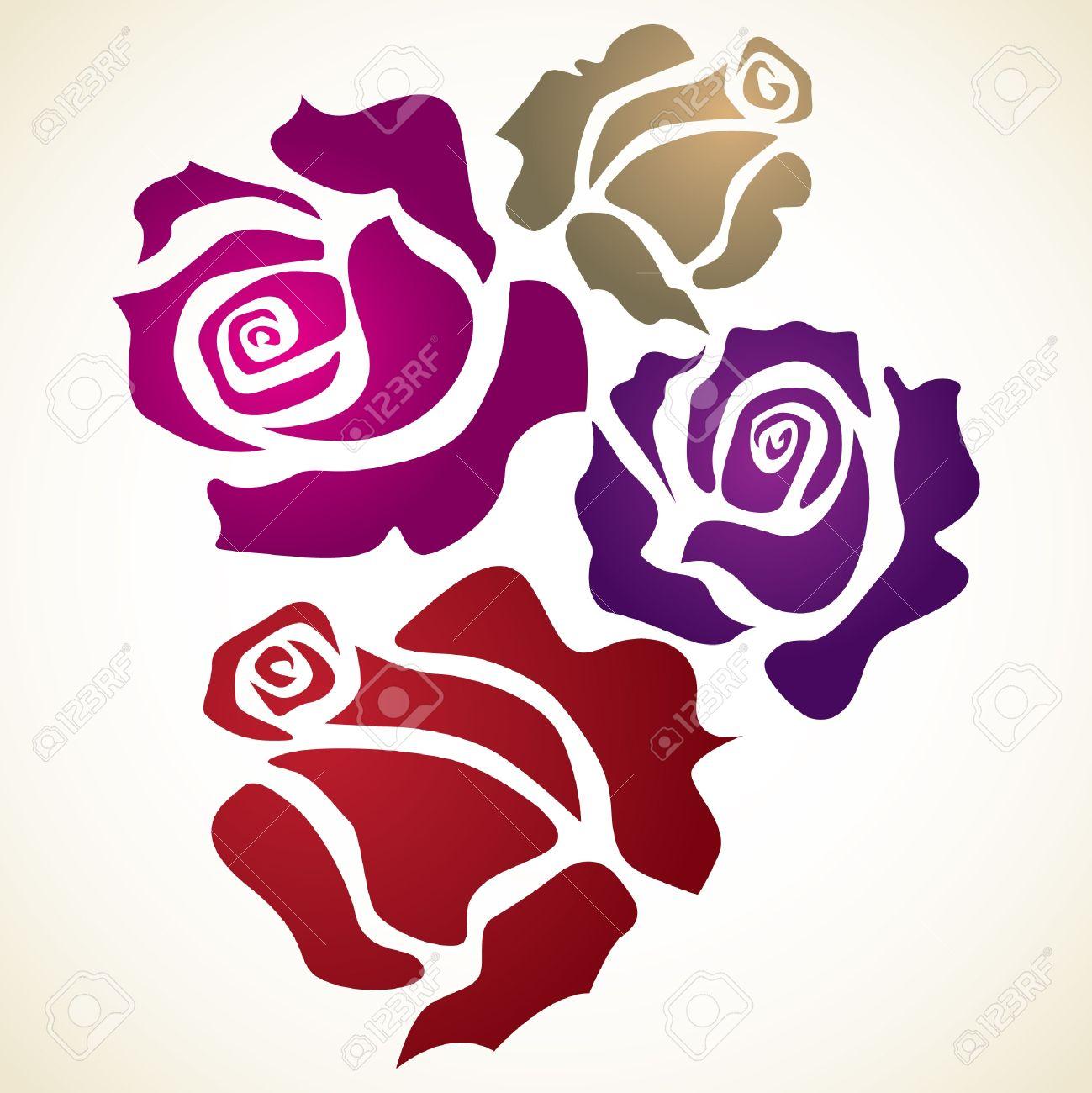 Four Color Flower Rose - Sketch Illustration Royalty Free Cliparts ...