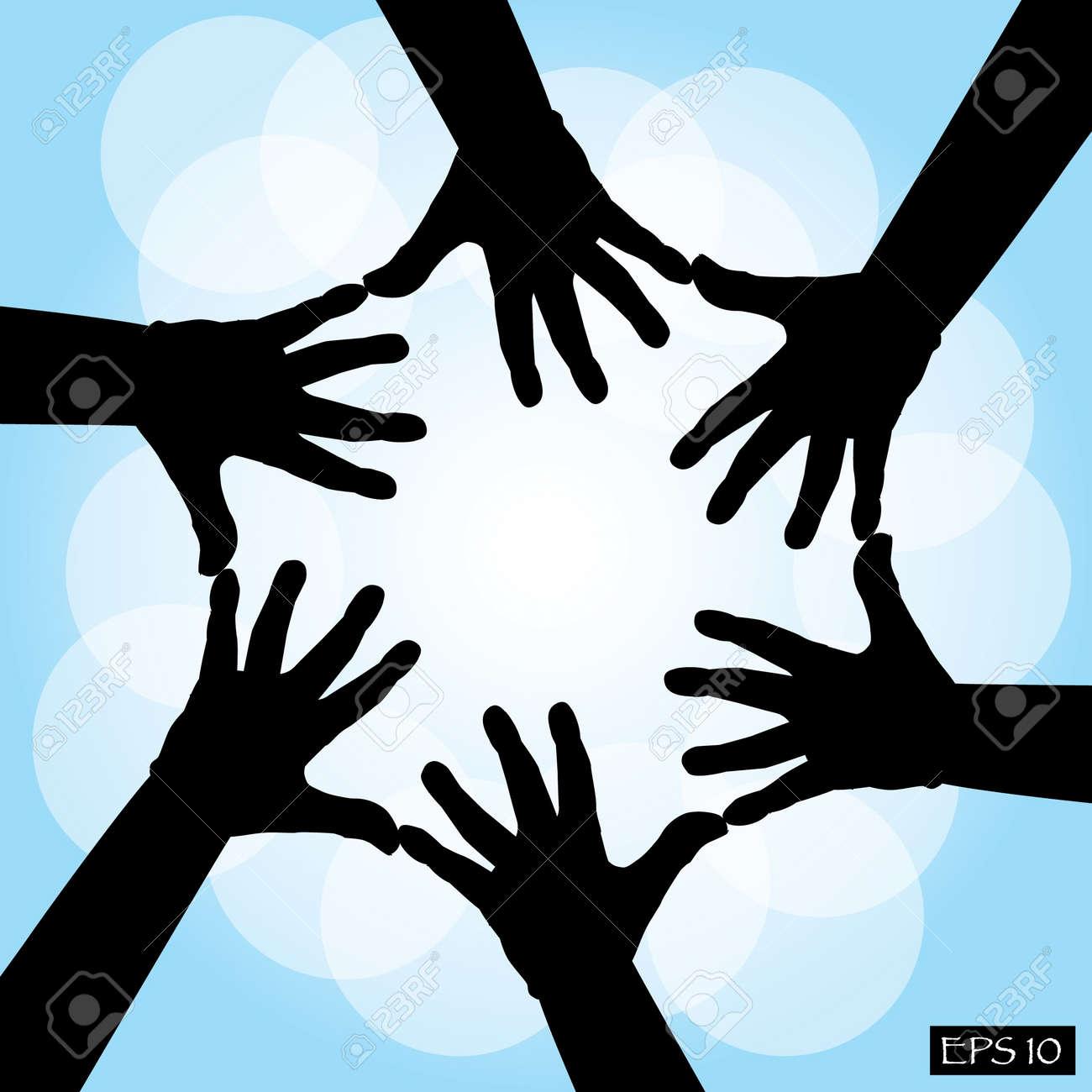 6 人の共同手 イラストのイラスト素材ベクタ Image 12450119
