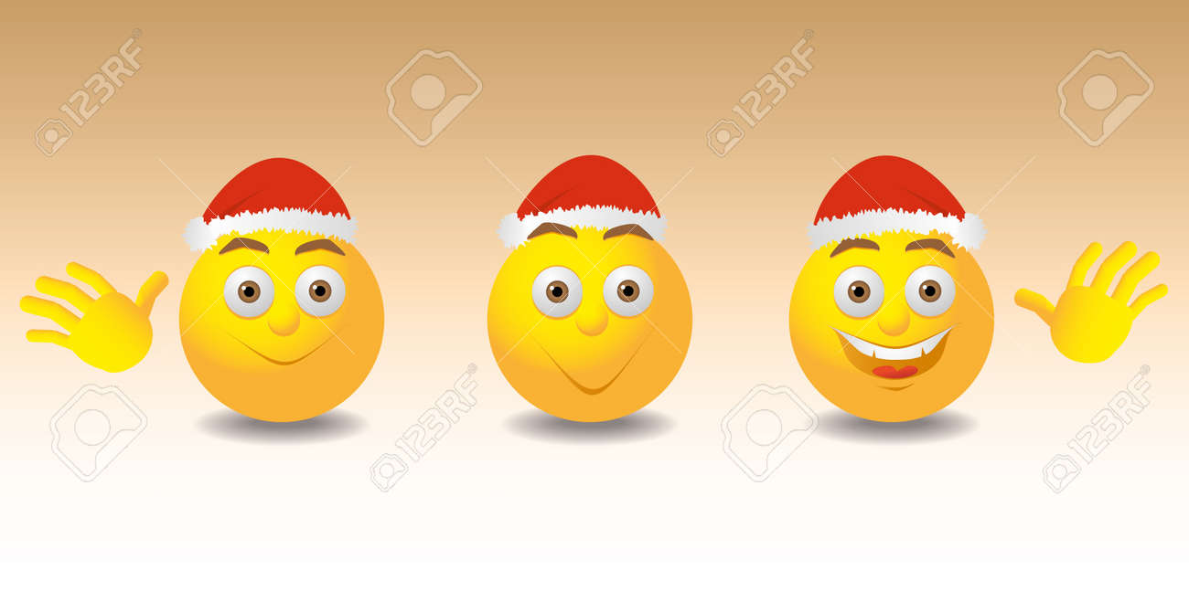 smilies with christmas hut - illustration Stock Vector - 12450131