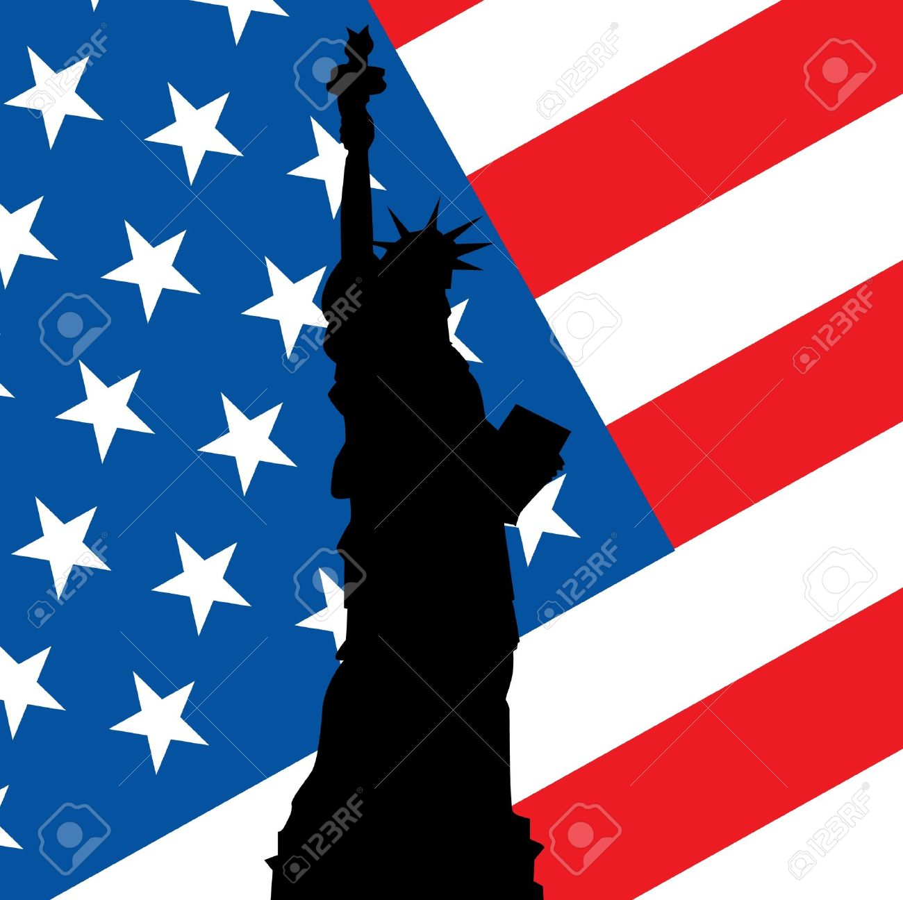statue of liberty on use flag illustration Stock Vector - 12450103