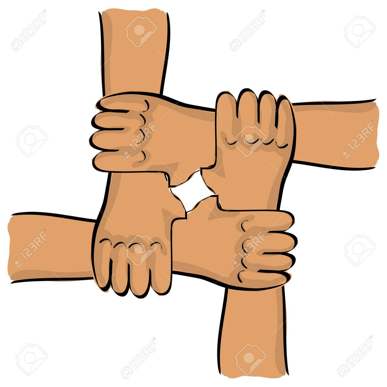 symbolic teamwork hands connection - illustration Stock Vector - 12452966