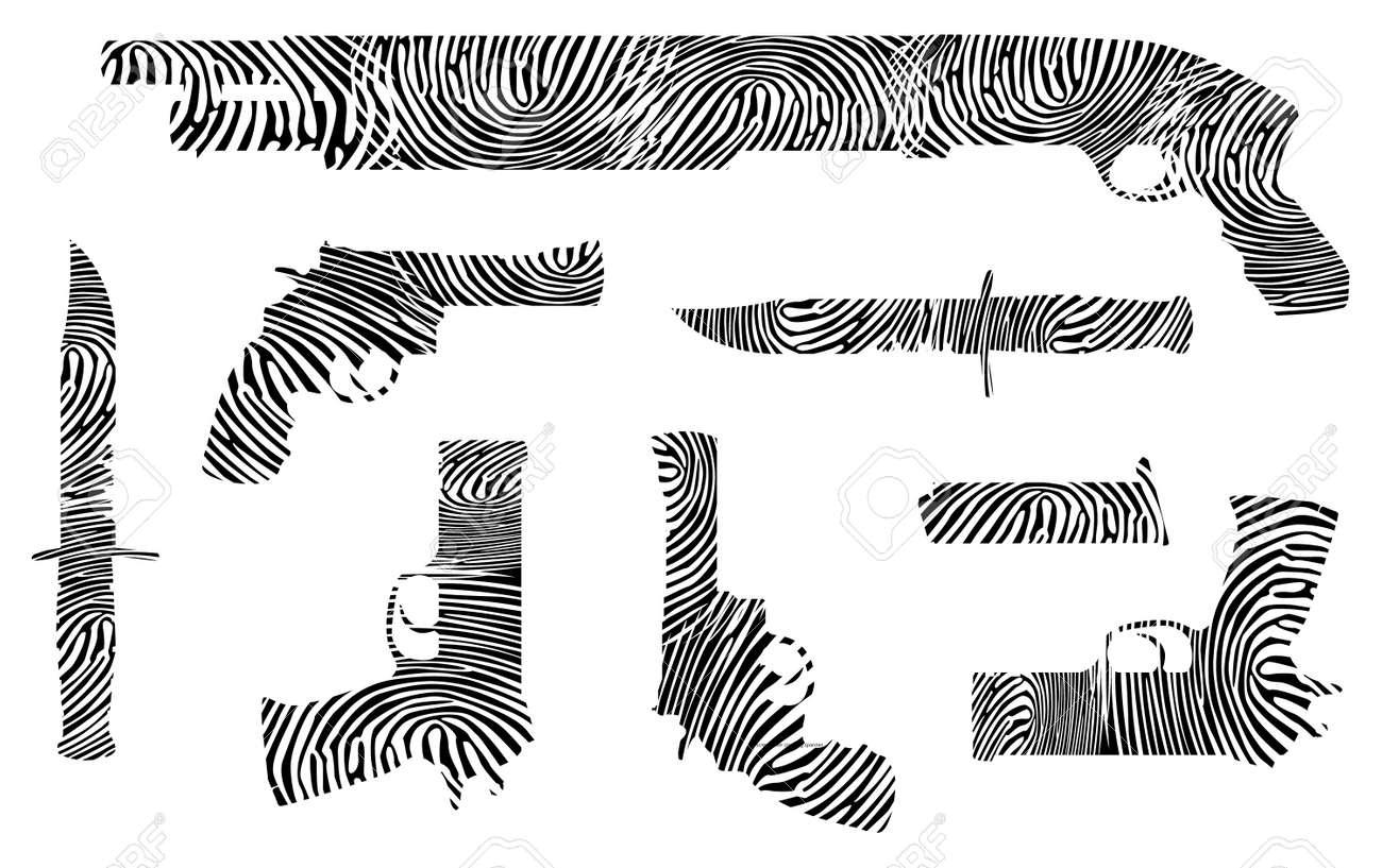 weapons fingerprint silhouette - isolated illustration Stock Vector - 12453130