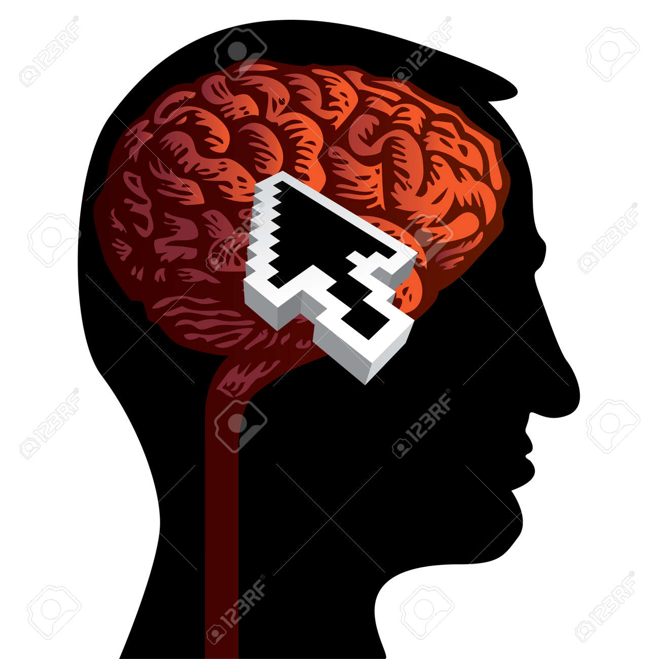 human head with brain isolated illustration Stock Vector - 12453381