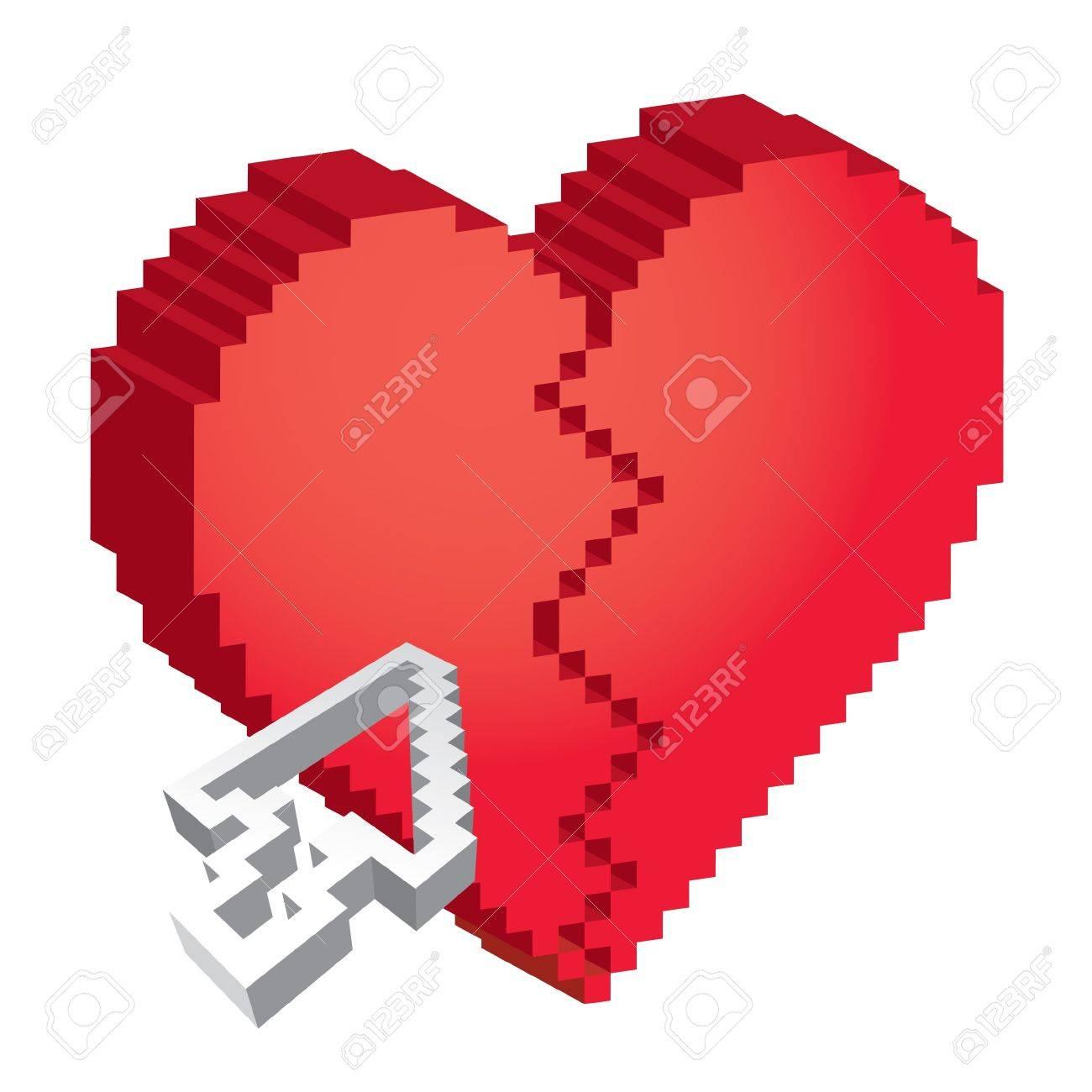 Coeur Brisé Pixel 3d Avec La Flèche