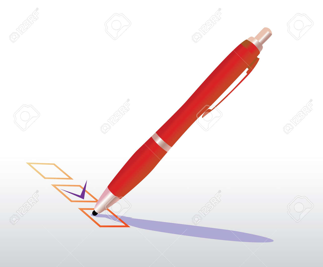 checkbox with pen - realistic illustration Stock Vector - 12454769