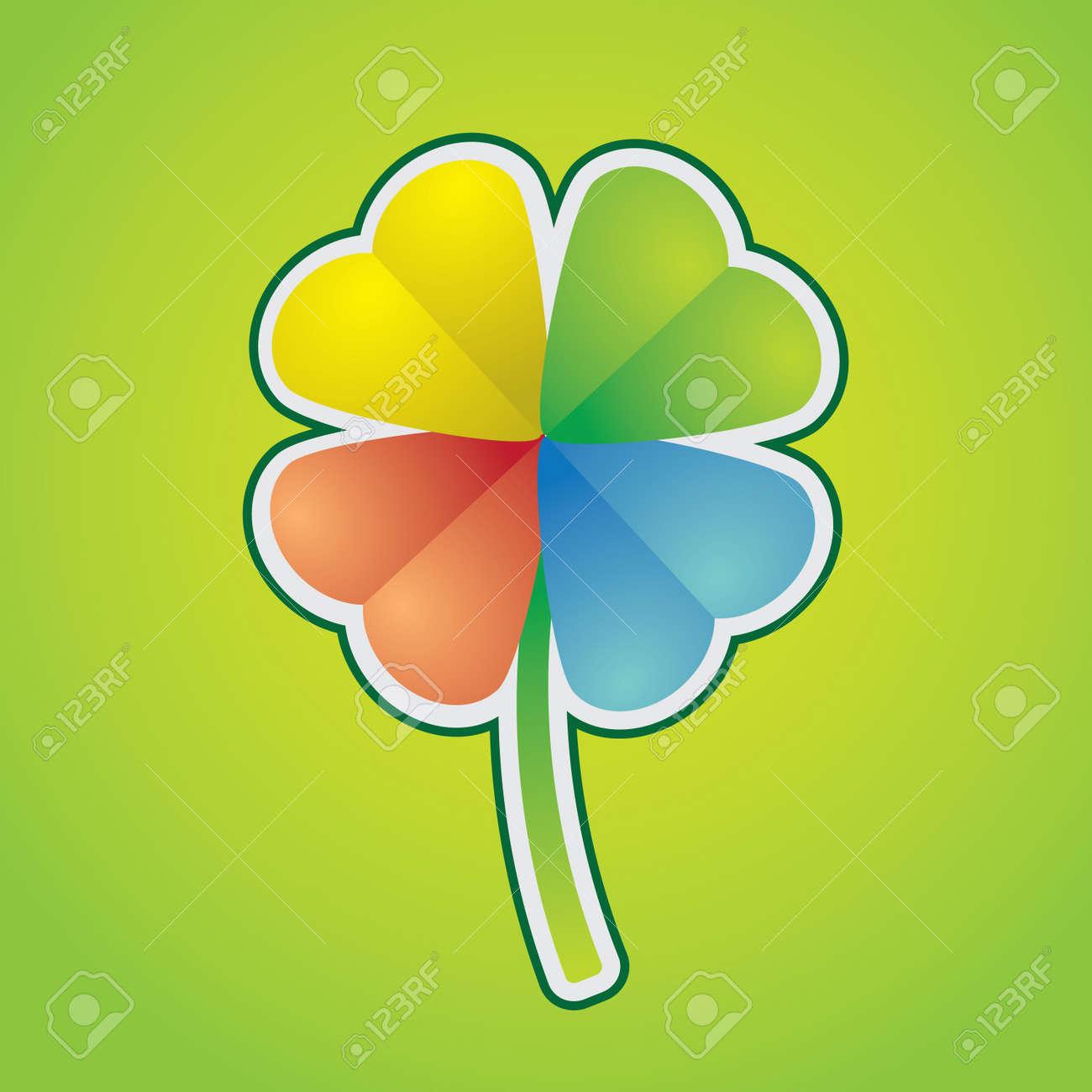 multicolored four-leaf clover - illustration Stock Vector - 12454681