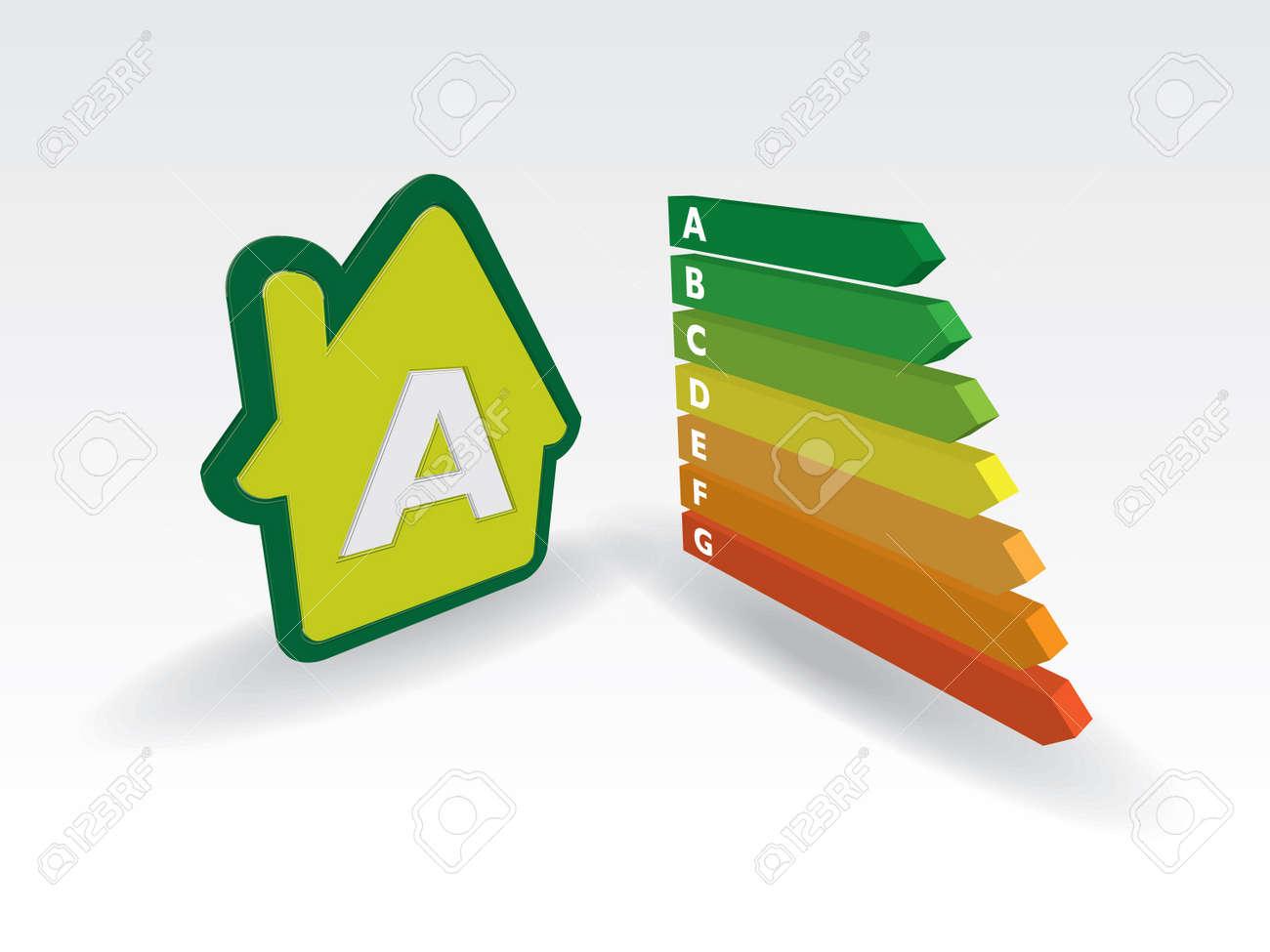house energy effiency label  - illustration Stock Vector - 12448134