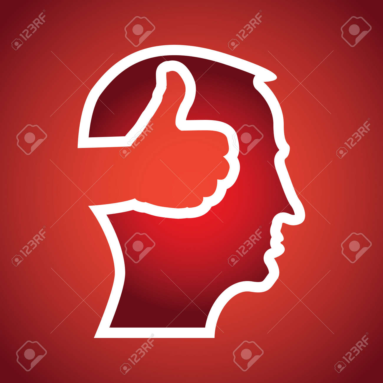 thumb up in head illustration Stock Vector - 12453990