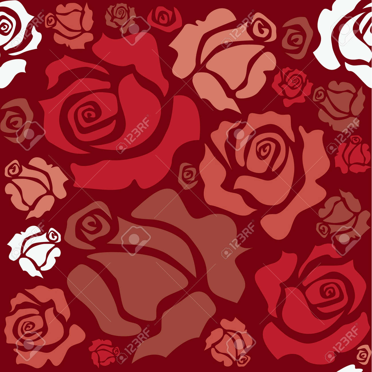 seamless pattern of red roses - sketch illustration Stock Vector - 12453352