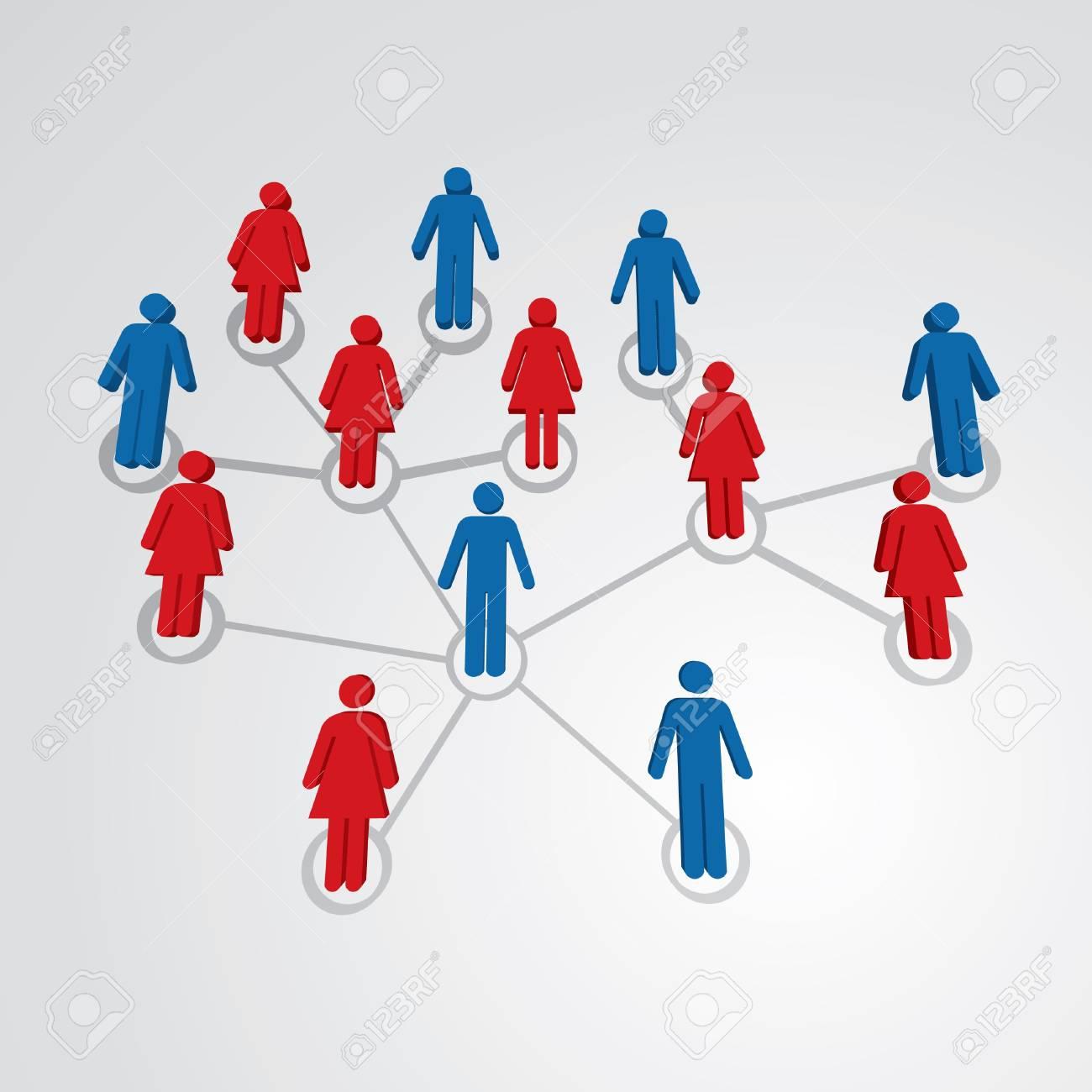 Men and women in social network map - illustration Stock Vector - 12861018