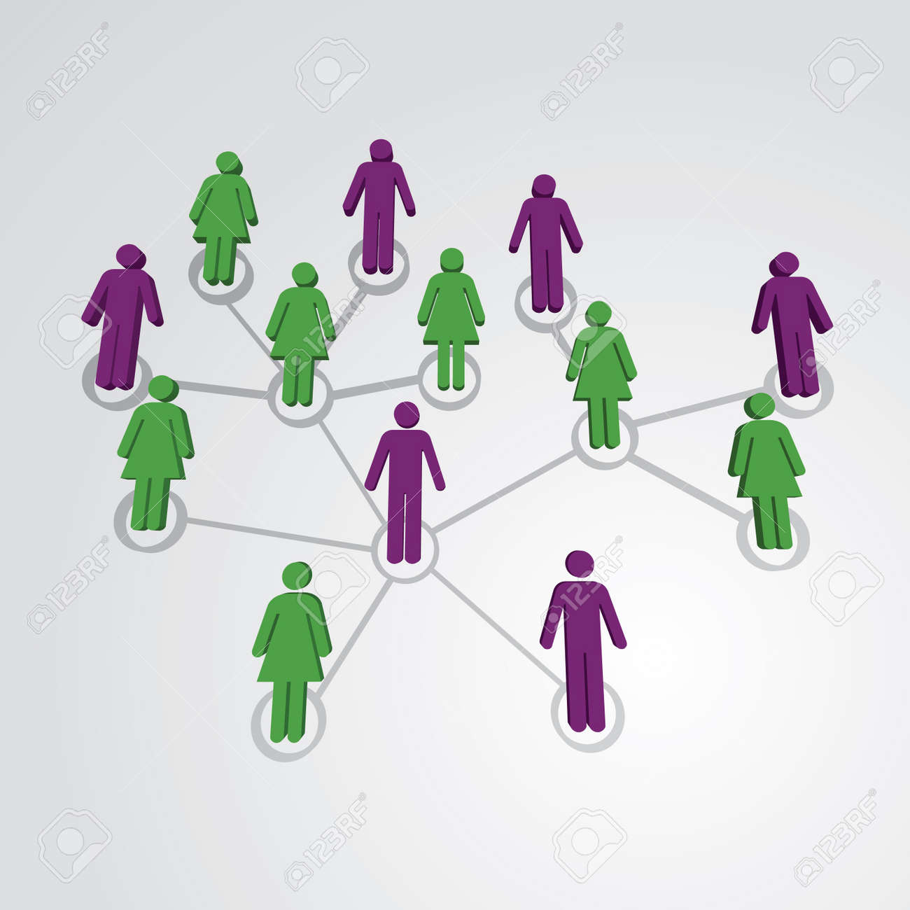 Men and women in social network map - illustration Stock Vector - 12861015