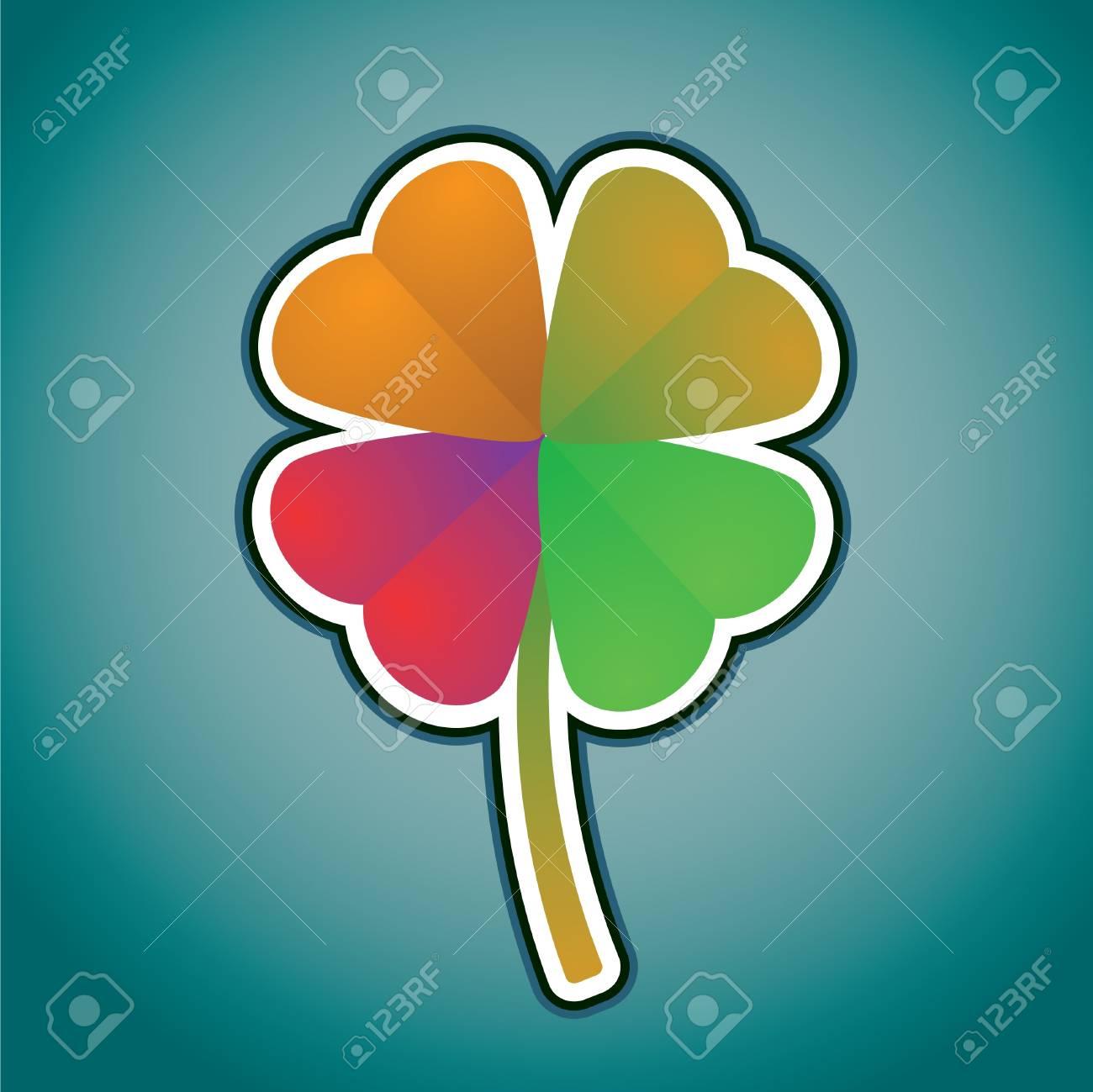 multicolored four-leaf clover - illustration Stock Vector - 13868417