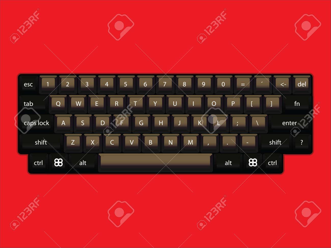 isoated computer keyboard layout - realistic illustration
