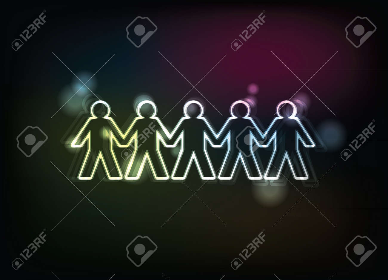 human figures in a row - illustration Stock Vector - 14458038