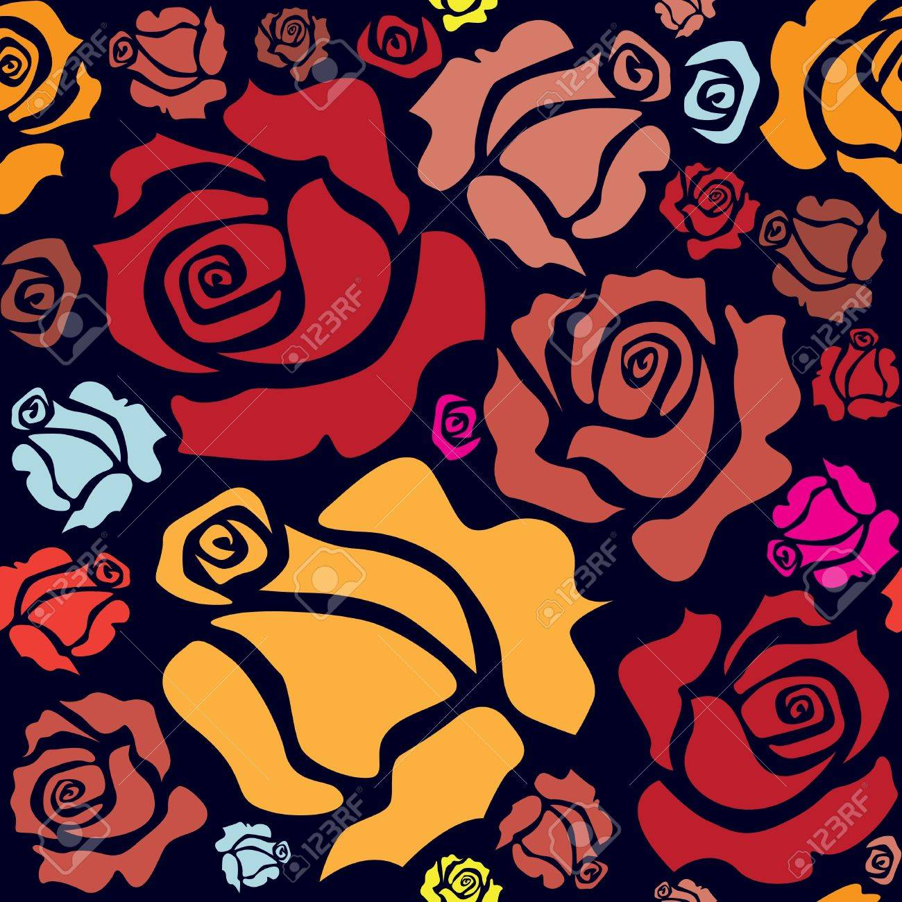 seamless pattern of color roses - illustration Stock Vector - 14886424