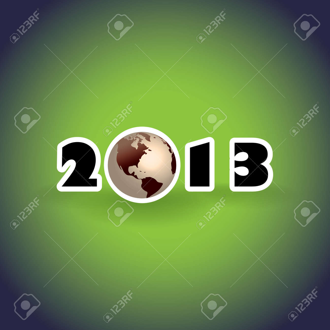 2013 concept with planet Earth, illustration Stock Vector - 16262109