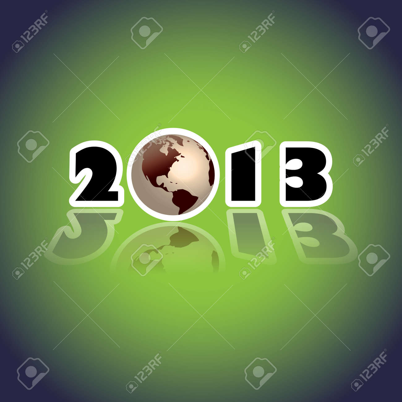 2013 concept with planet Earth, illustration Stock Vector - 16262095