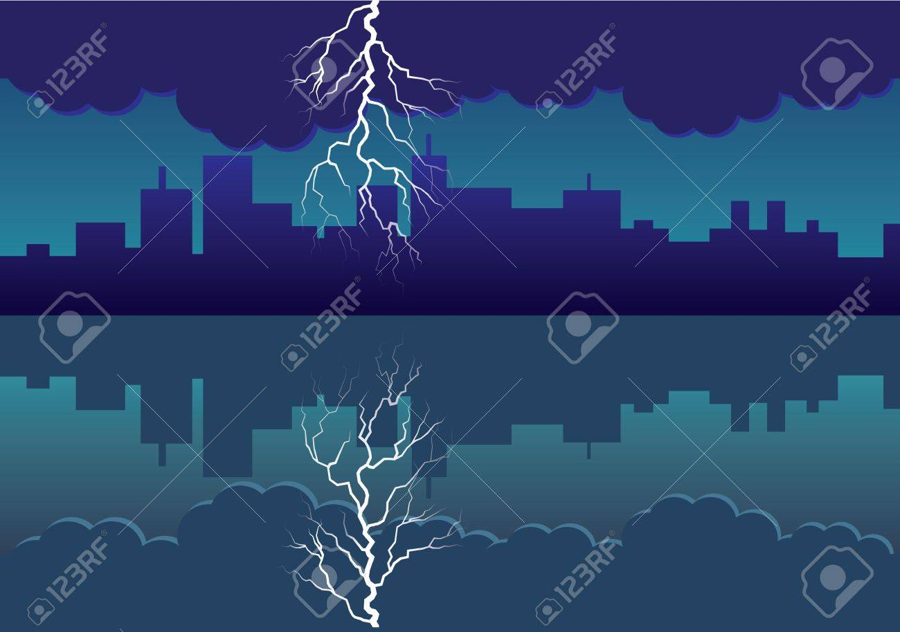 city panorama picture with comming storm and flash in the sky - illustration Stock Vector - 16262107
