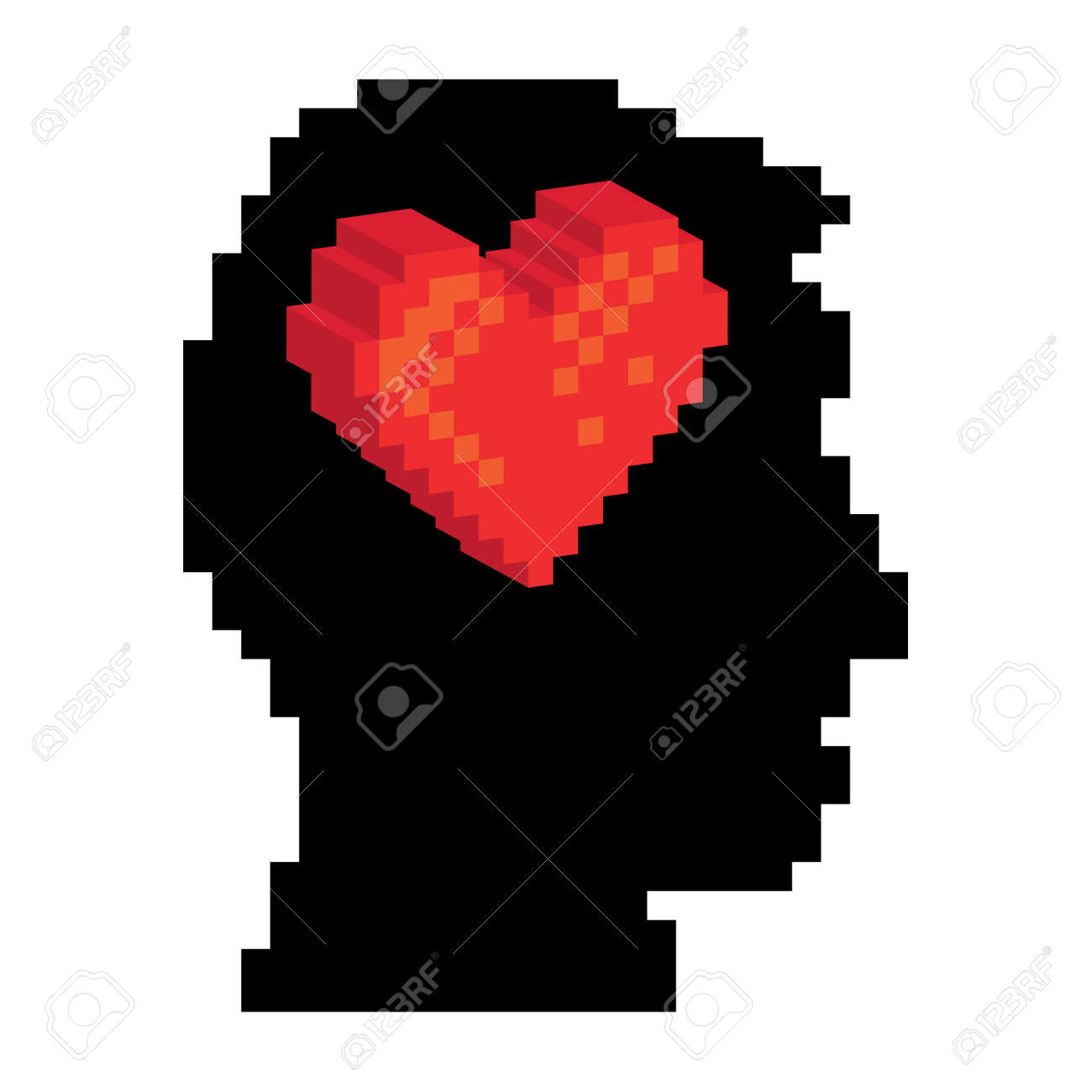 Pixel heart in the pixel head, illustration Stock Vector - 16261763