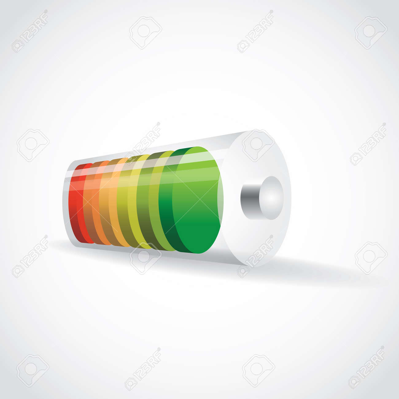 battery with color level of charge, illustration Stock Vector - 16720211